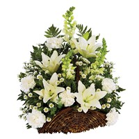 Classic Fireside Sympathy Basket, All-White Flowers (BF327-11KM)